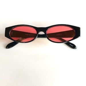 Accessories - RED Cool Retro Vintage Geometric Slim Sunglasses
